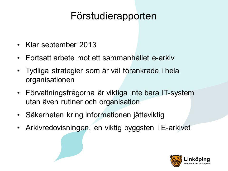 Förstudierapporten Klar september 2013