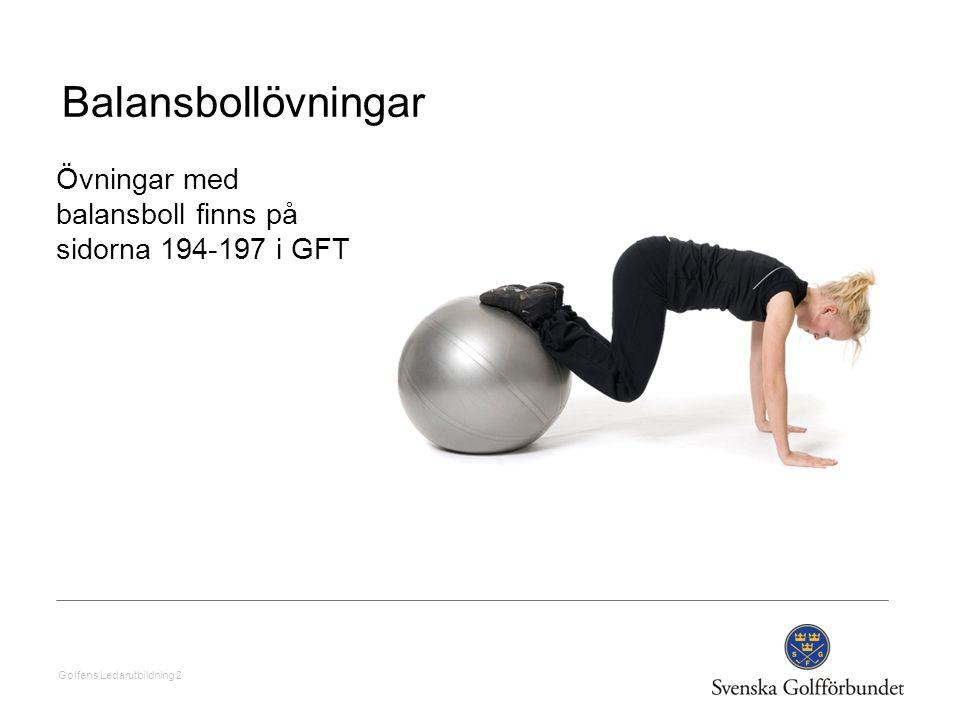 Balansbollövningar Övningar med balansboll finns på sidorna 194-197 i GFT