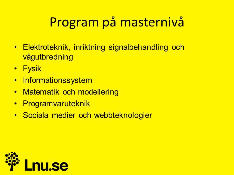 Program på masternivå Elektroteknik, inriktning signalbehandling och vågutbredning. Fysik. Informationssystem.