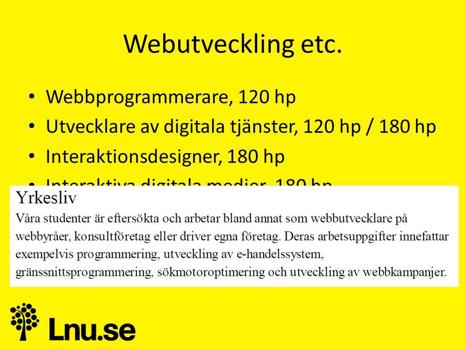 Webutveckling etc. Webbprogrammerare, 120 hp