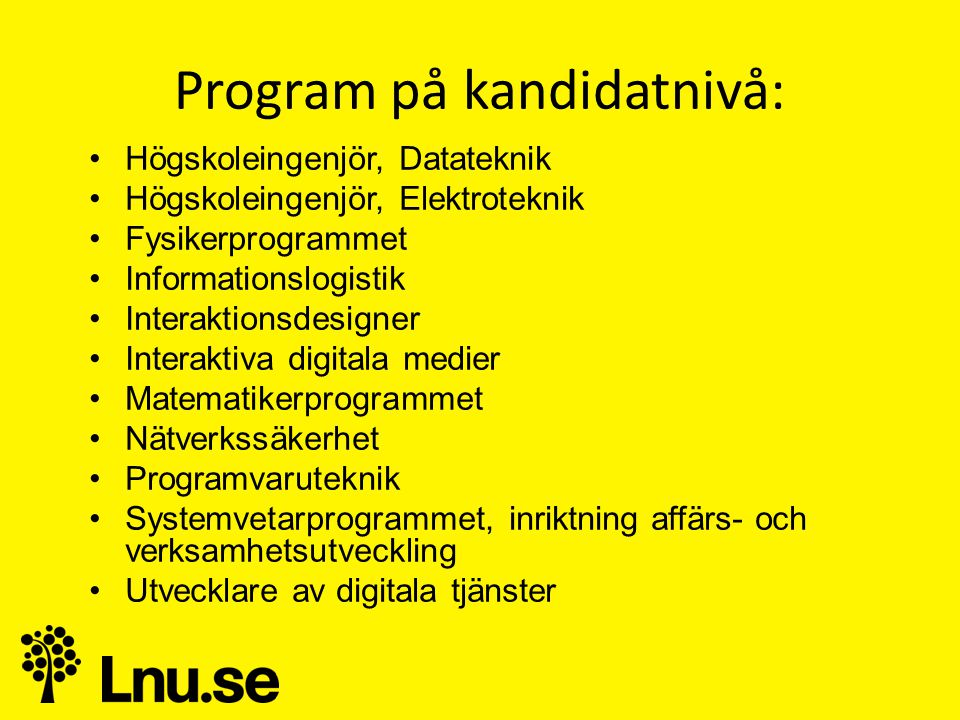 Program på kandidatnivå:
