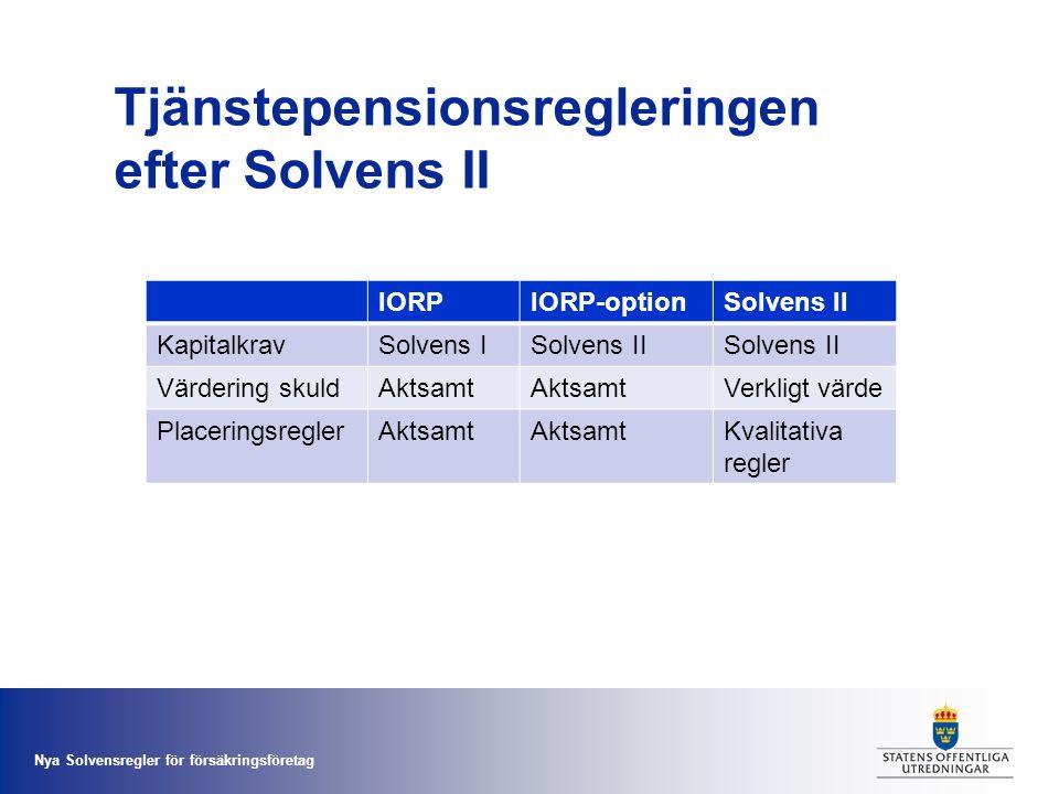Tjänstepensionsregleringen efter Solvens II