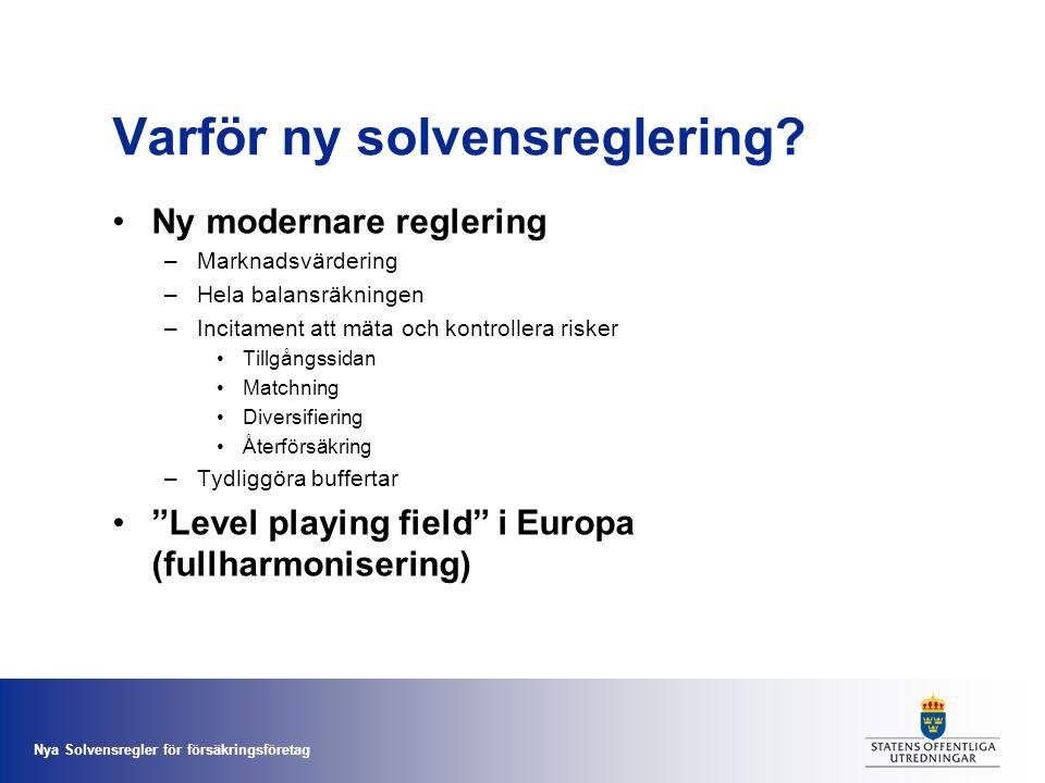 Varför ny solvensreglering