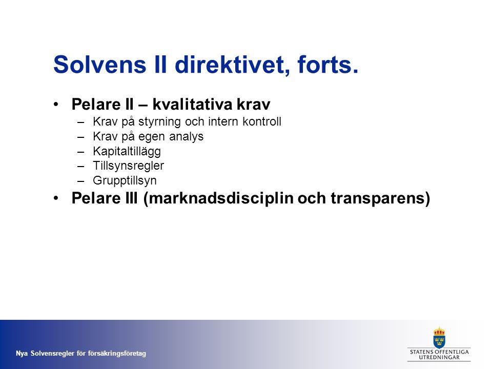 Solvens II direktivet, forts.