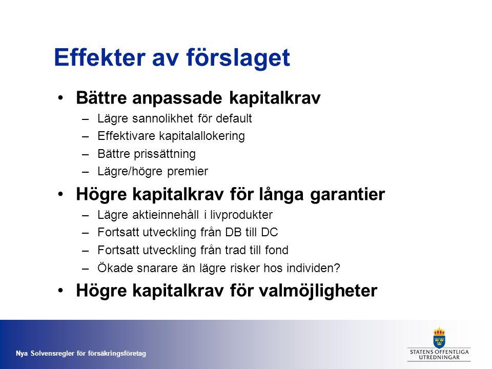 Effekter av förslaget Bättre anpassade kapitalkrav