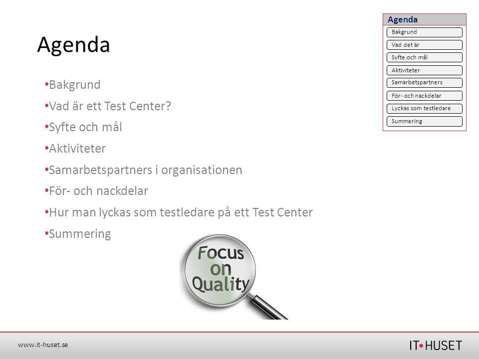 Agenda Bakgrund Vad är ett Test Center Syfte och mål Aktiviteter