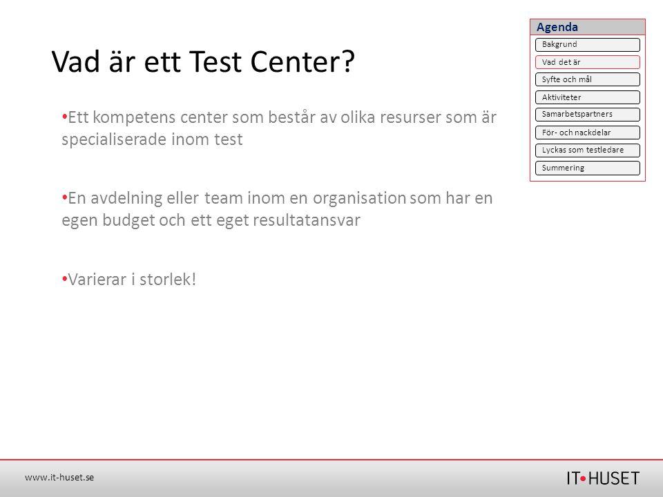 Agenda Vad är ett Test Center Bakgrund. Vad det är. Syfte och mål. Aktiviteter.