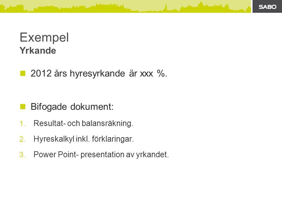 Exempel Yrkande 2012 års hyresyrkande är xxx %. Bifogade dokument: