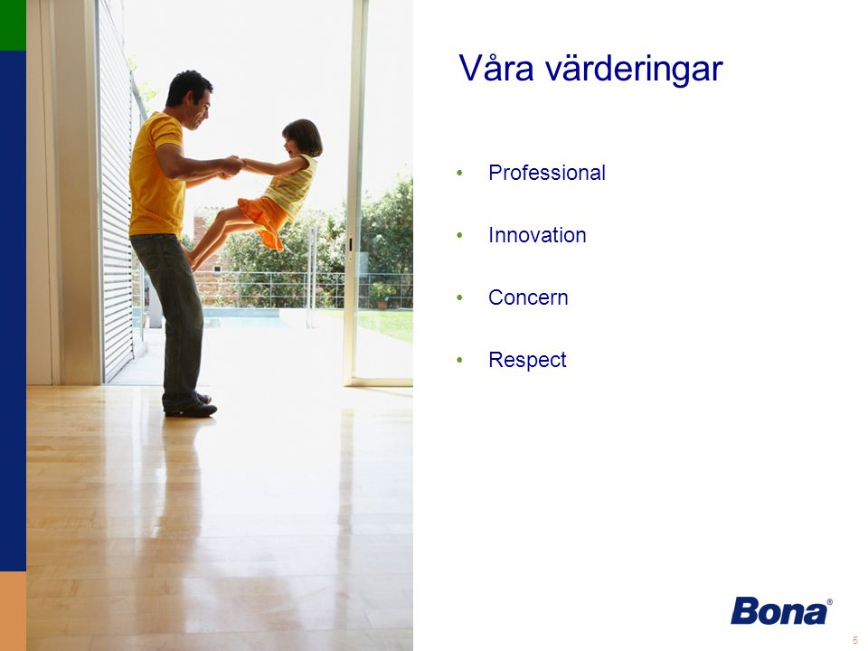 Våra värderingar Professional Innovation Concern Respect Professional