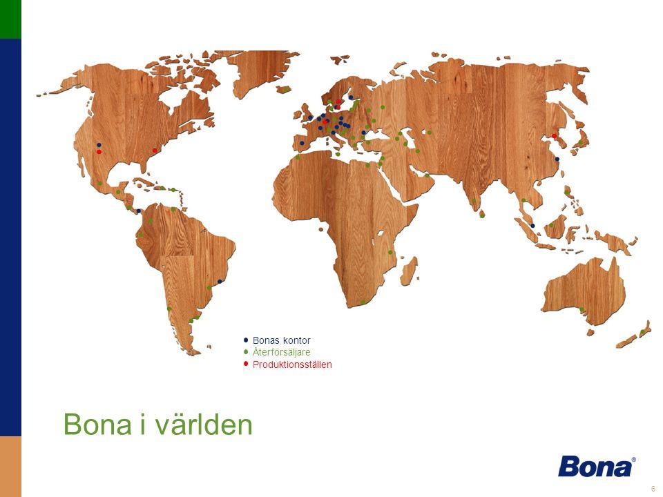 Bona i världen Bonas kontor Återförsäljare Produktionsställen