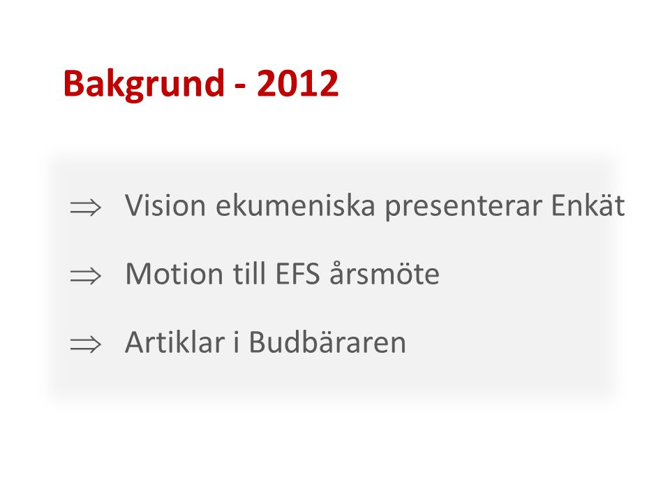 Bakgrund - 2012 Vision ekumeniska presenterar Enkät
