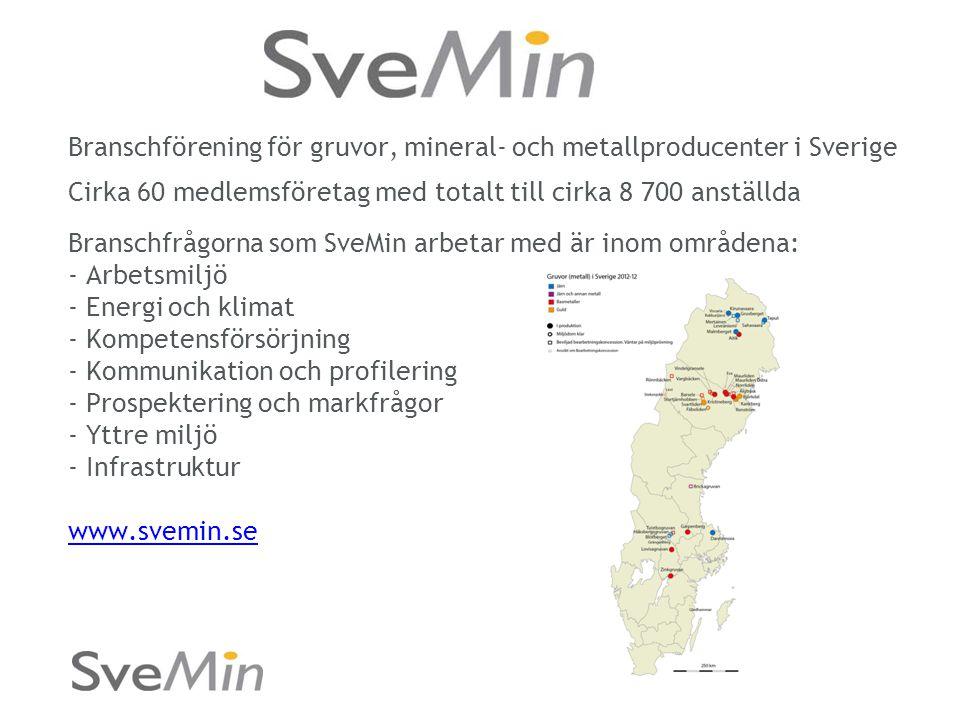Branschförening för gruvor, mineral- och metallproducenter i Sverige Cirka 60 medlemsföretag med totalt till cirka 8 700 anställda Branschfrågorna som SveMin arbetar med är inom områdena: - Arbetsmiljö - Energi och klimat - Kompetensförsörjning - Kommunikation och profilering - Prospektering och markfrågor - Yttre miljö - Infrastruktur www.svemin.se