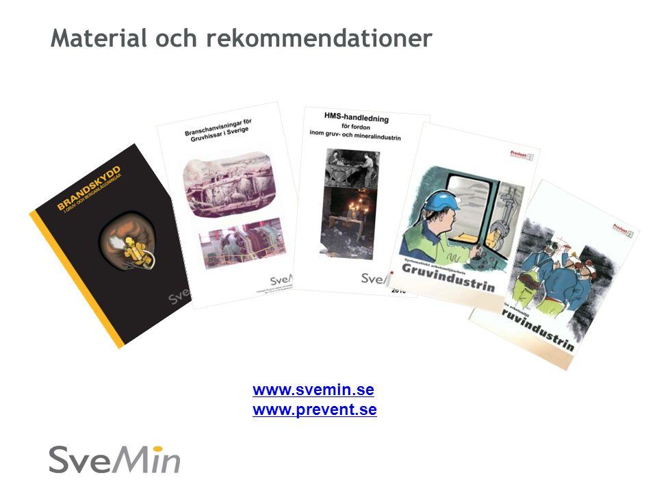 Material och rekommendationer