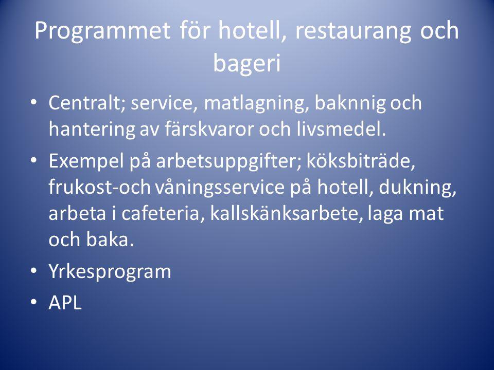 Programmet för hotell, restaurang och bageri