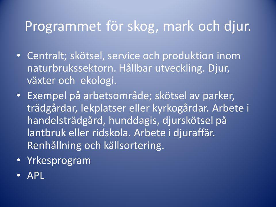 Programmet för skog, mark och djur.