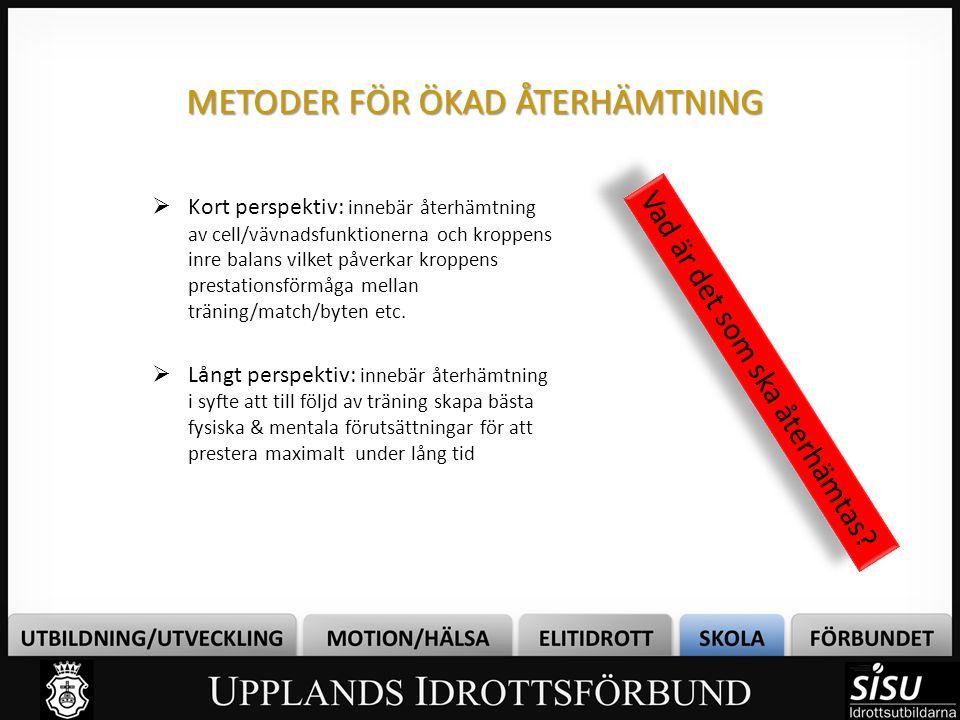 METODER FÖR ÖKAD ÅTERHÄMTNING
