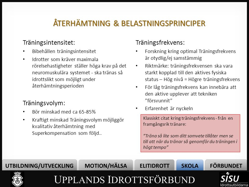 ÅTERHÄMTNING & BELASTNINGSPRINCIPER