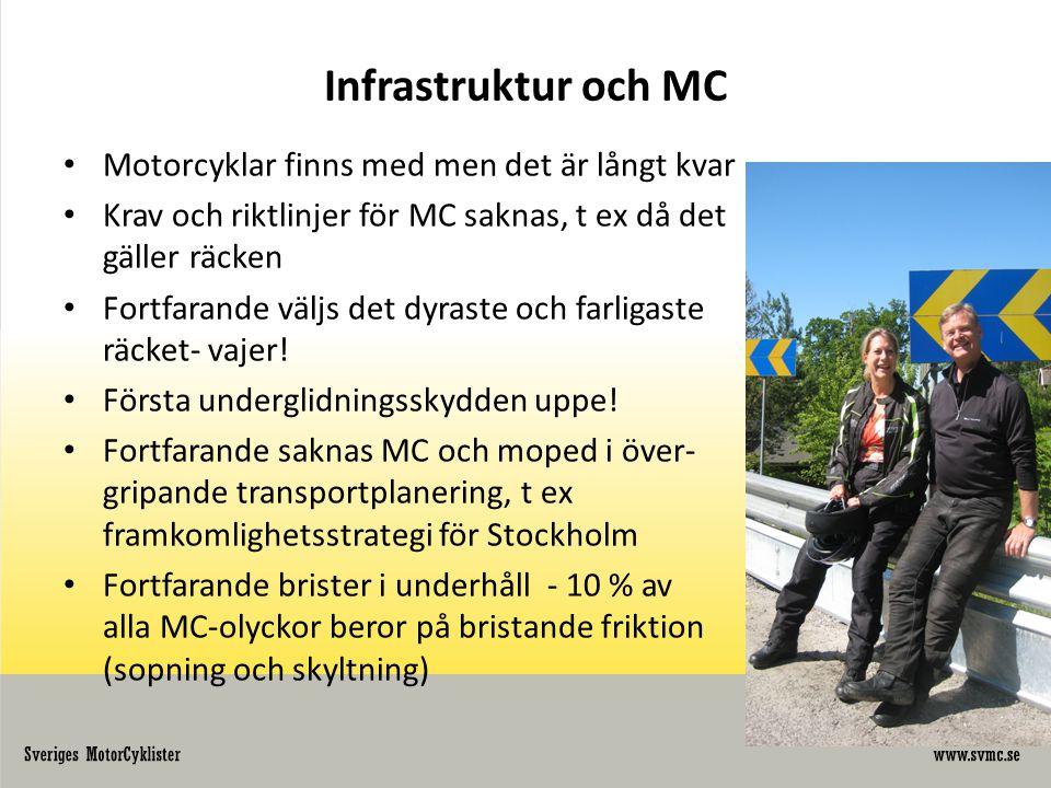 Infrastruktur och MC Motorcyklar finns med men det är långt kvar
