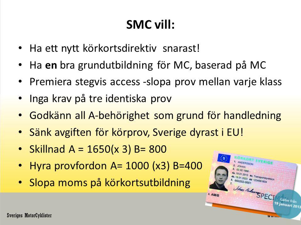 SMC vill: Ha ett nytt körkortsdirektiv snarast!