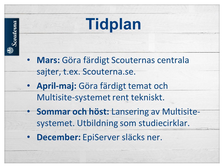 Tidplan Mars: Göra färdigt Scouternas centrala sajter, t.ex. Scouterna.se. April-maj: Göra färdigt temat och Multisite-systemet rent tekniskt.