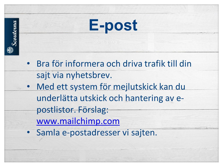 E-post Bra för informera och driva trafik till din sajt via nyhetsbrev.