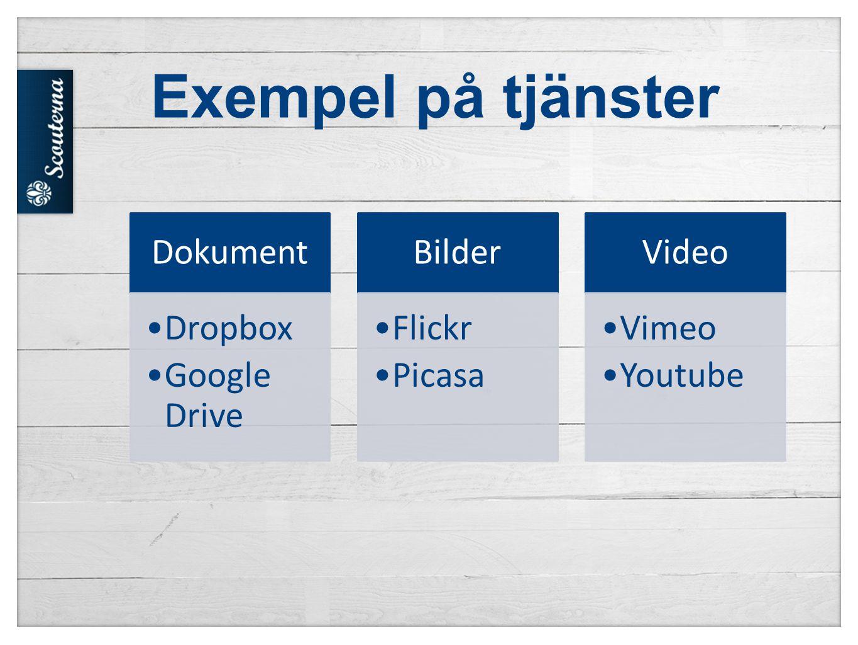 Exempel på tjänster Dokument Dropbox Google Drive Bilder Flickr Picasa