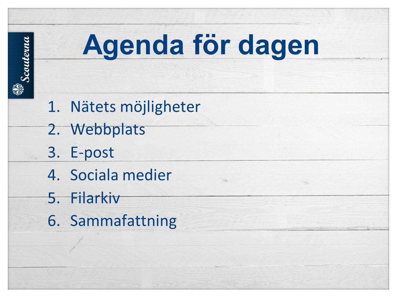 Agenda för dagen Nätets möjligheter Webbplats E-post Sociala medier