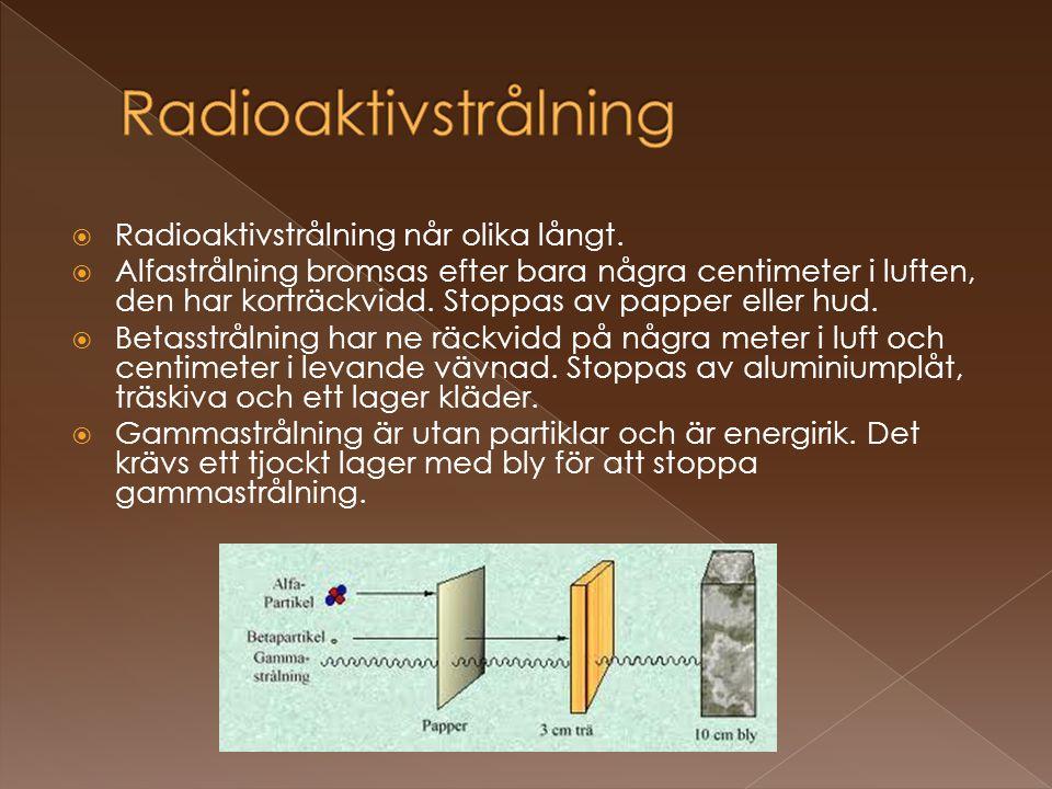 Radioaktivstrålning Radioaktivstrålning når olika långt.