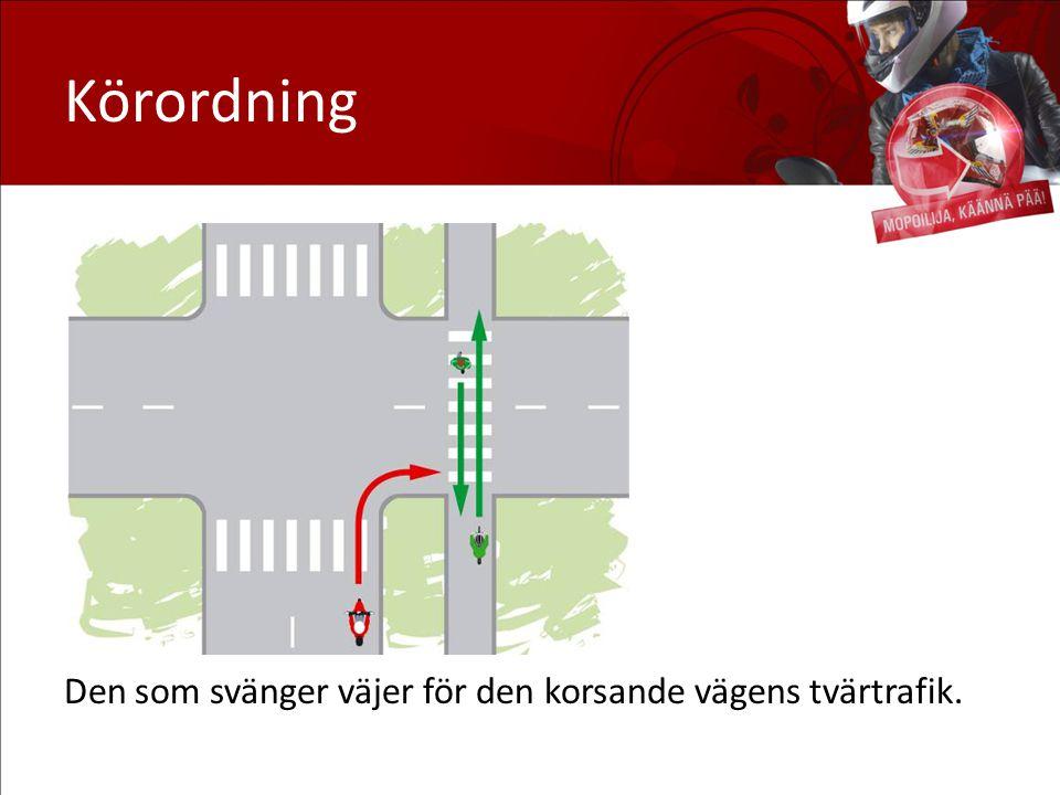 Körordning Den som svänger väjer för den korsande vägens tvärtrafik.