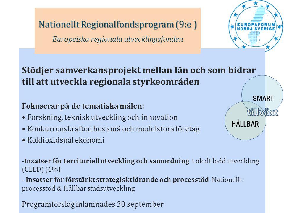 tillväxt Nationellt Regionalfondsprogram (9:e )