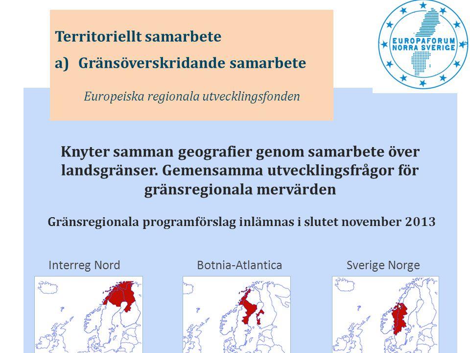 Gränsregionala programförslag inlämnas i slutet november 2013