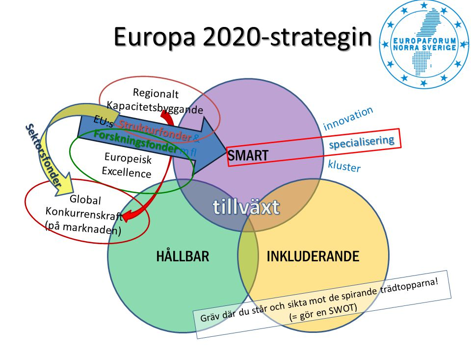 Europa 2020-strategin tillväxt SMART HÅLLBAR INKLUDERANDE Regionalt