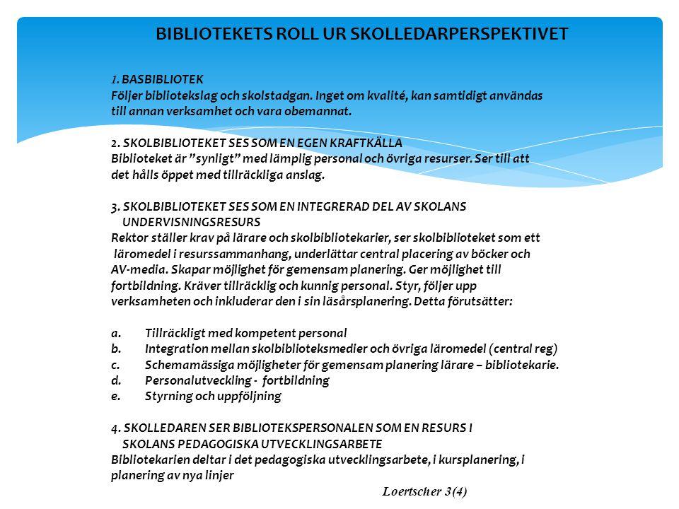 BIBLIOTEKETS ROLL UR SKOLLEDARPERSPEKTIVET
