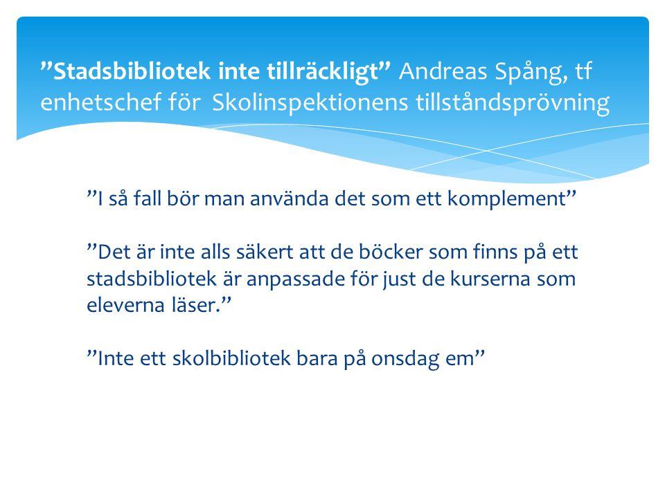 Stadsbibliotek inte tillräckligt Andreas Spång, tf enhetschef för Skolinspektionens tillståndsprövning