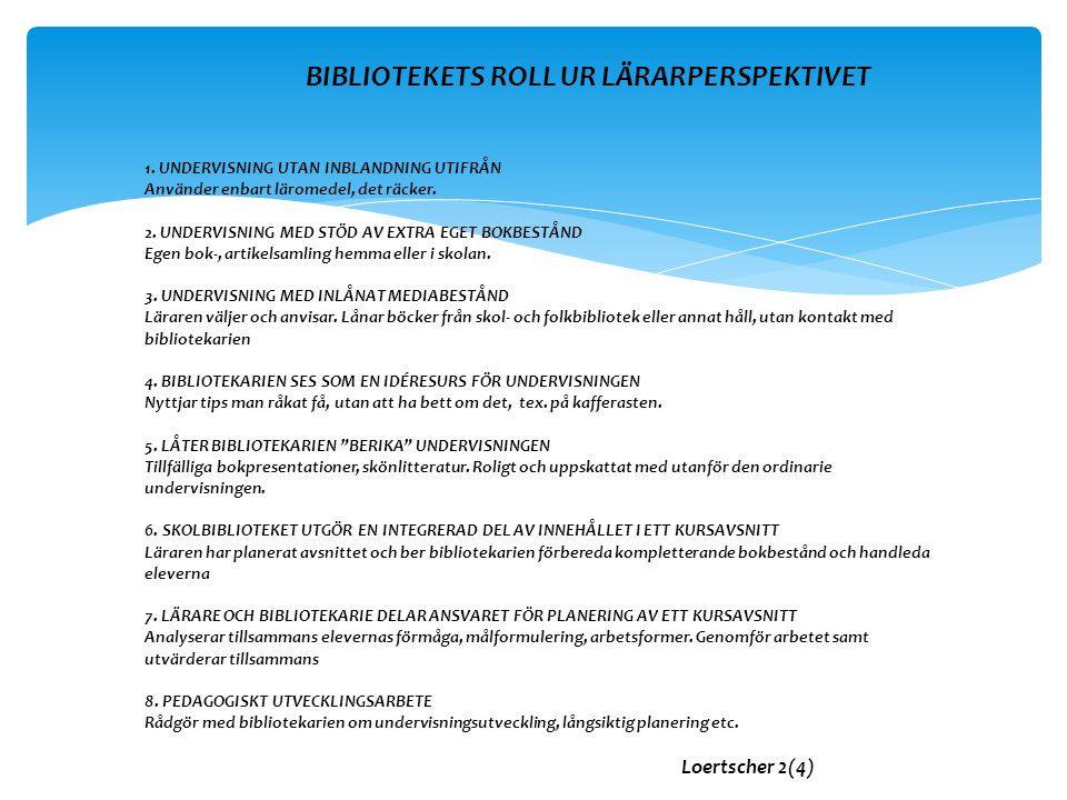 BIBLIOTEKETS ROLL UR LÄRARPERSPEKTIVET