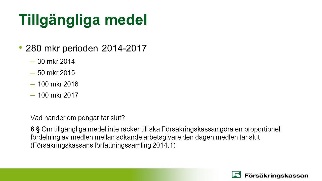 Tillgängliga medel 280 mkr perioden 2014-2017 30 mkr 2014 50 mkr 2015