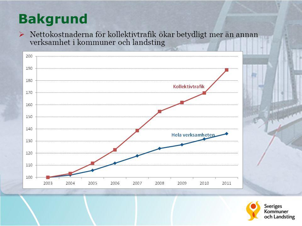 Bakgrund Nettokostnaderna för kollektivtrafik ökar betydligt mer än annan verksamhet i kommuner och landsting.