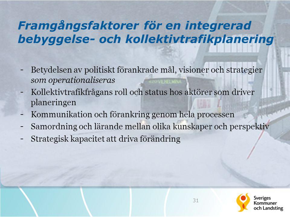 Framgångsfaktorer för en integrerad bebyggelse- och kollektivtrafikplanering