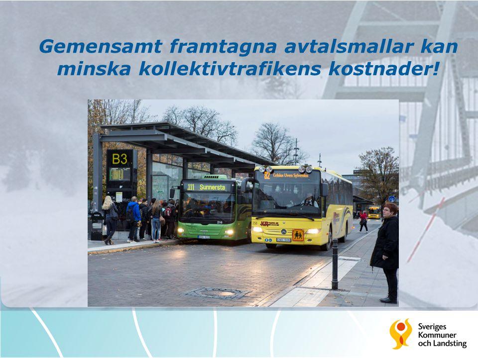Gemensamt framtagna avtalsmallar kan minska kollektivtrafikens kostnader!