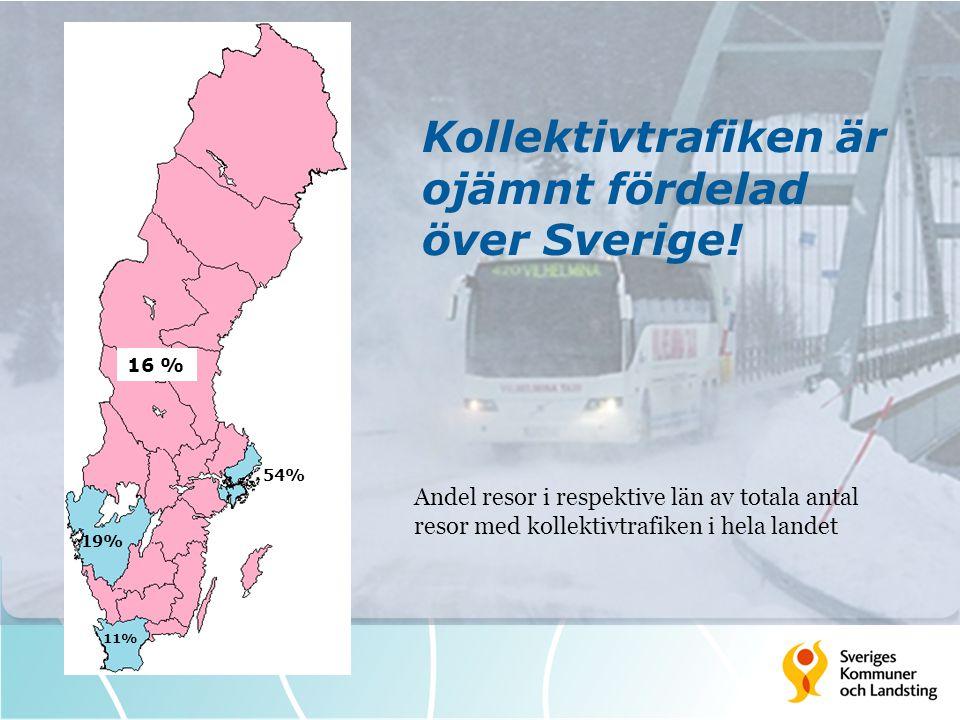 Kollektivtrafiken är ojämnt fördelad över Sverige!