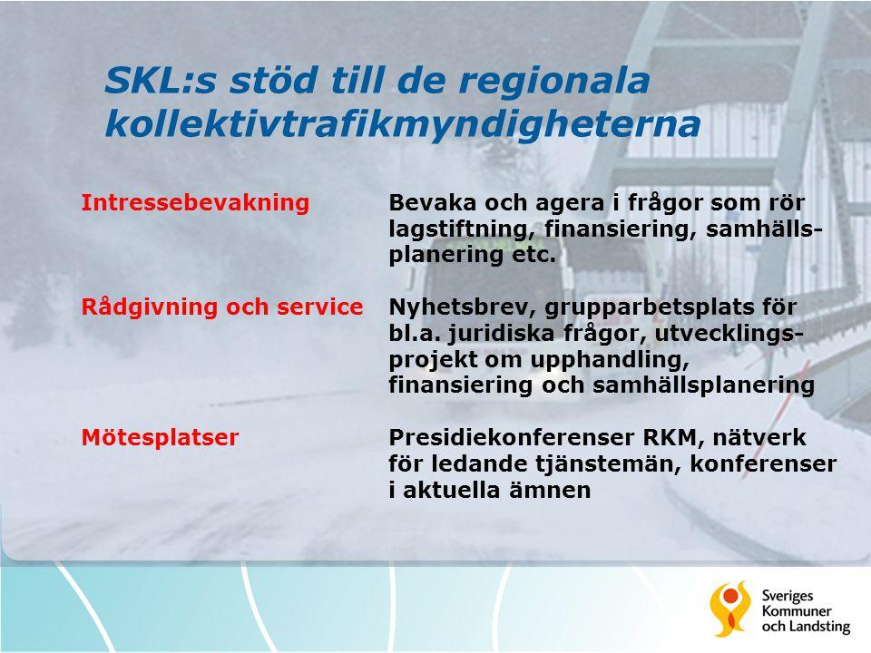 SKL:s stöd till de regionala kollektivtrafikmyndigheterna