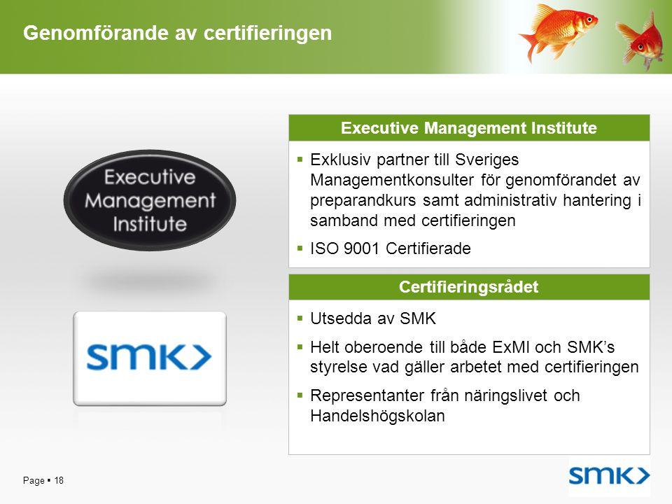 Genomförande av certifieringen