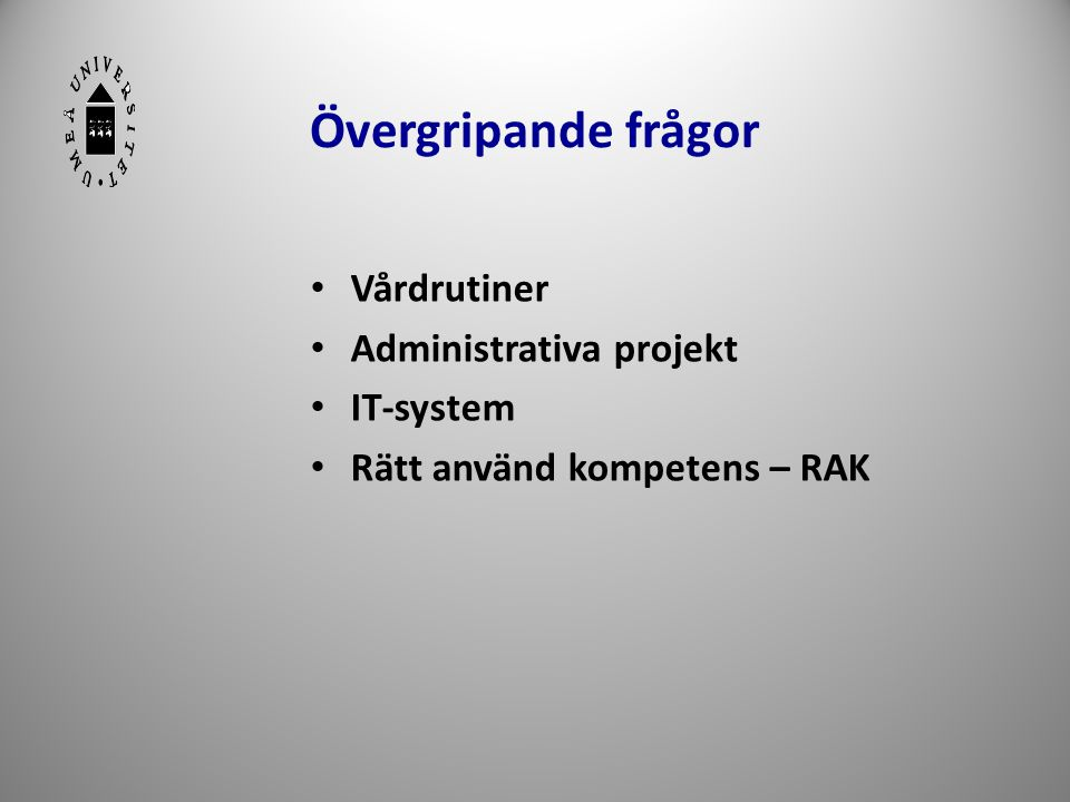 Övergripande frågor Vårdrutiner Administrativa projekt IT-system