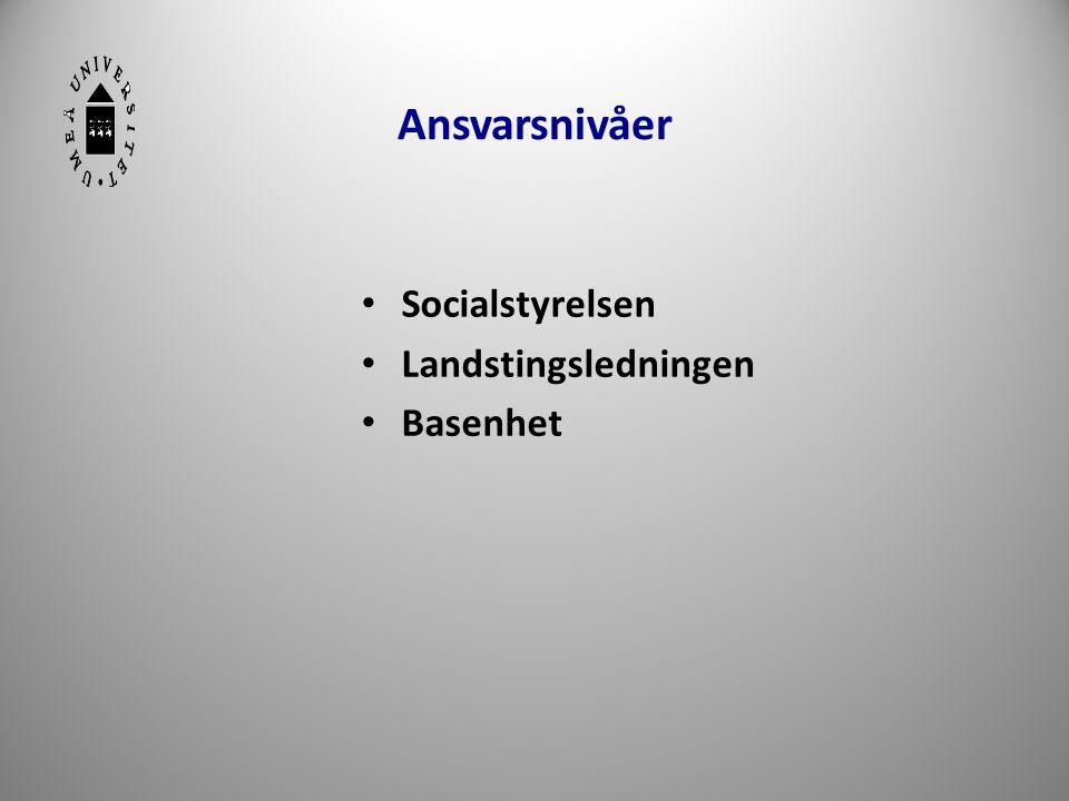 Ansvarsnivåer Socialstyrelsen Landstingsledningen Basenhet