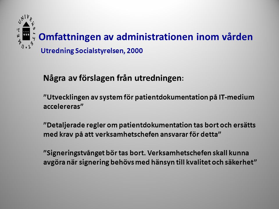 Omfattningen av administrationen inom vården