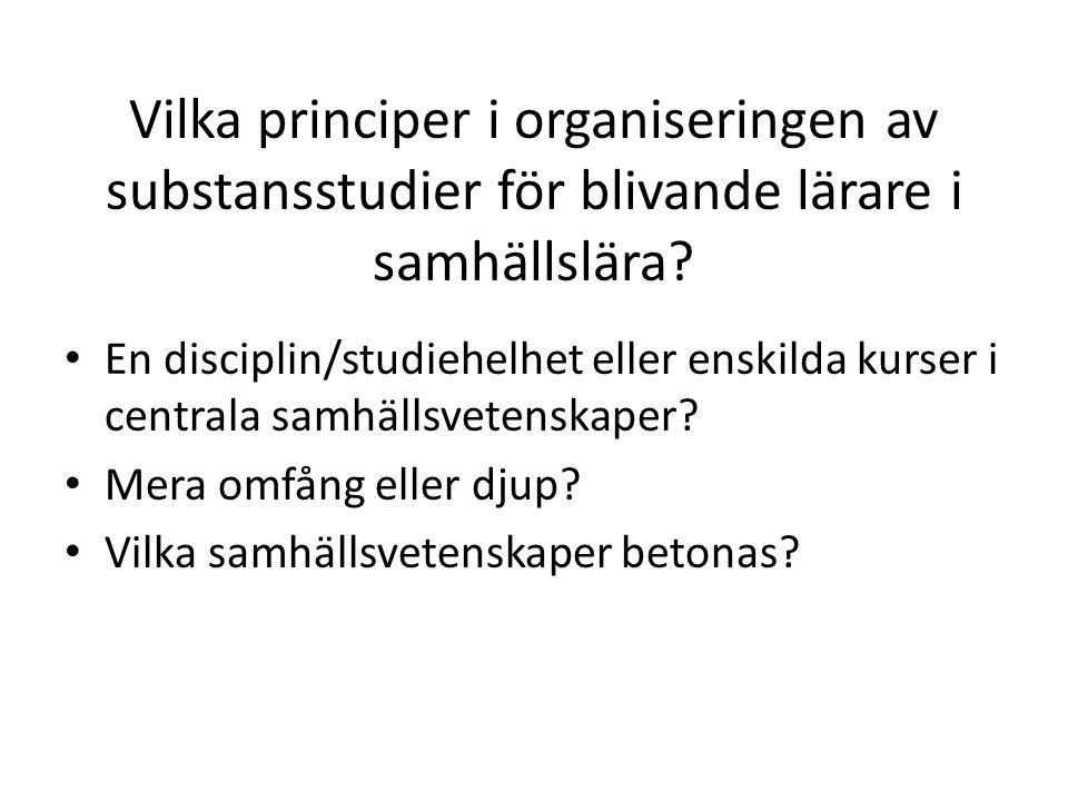 Vilka principer i organiseringen av substansstudier för blivande lärare i samhällslära