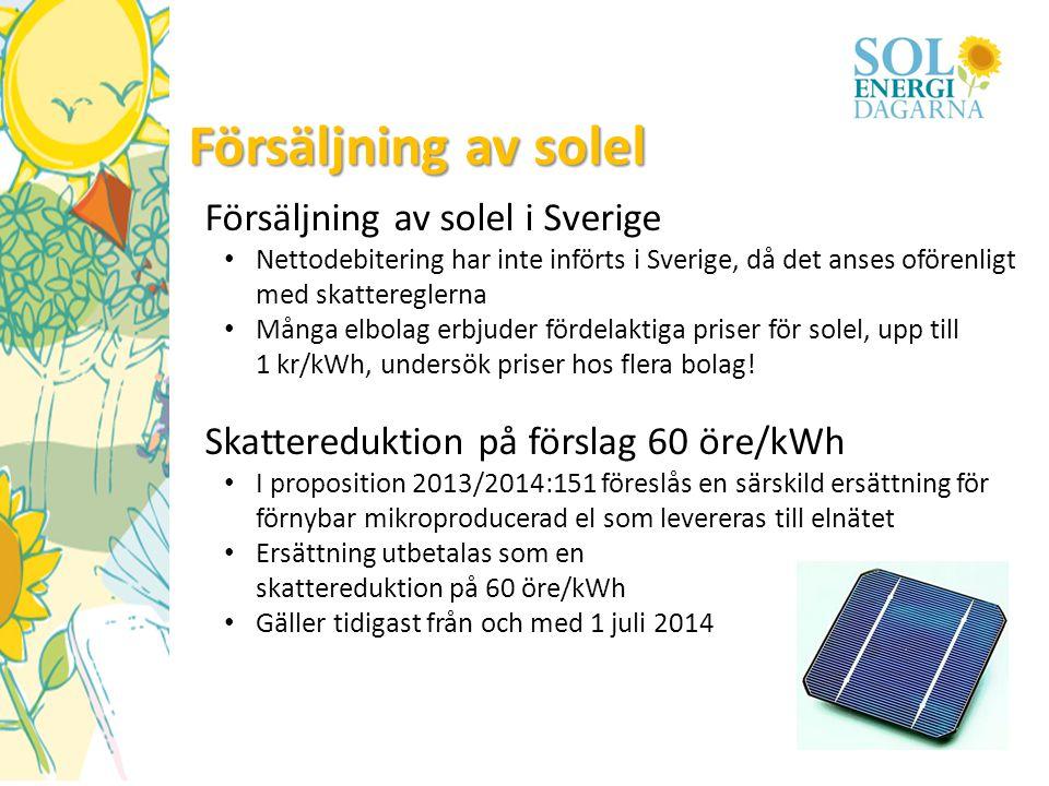 Försäljning av solel Försäljning av solel i Sverige