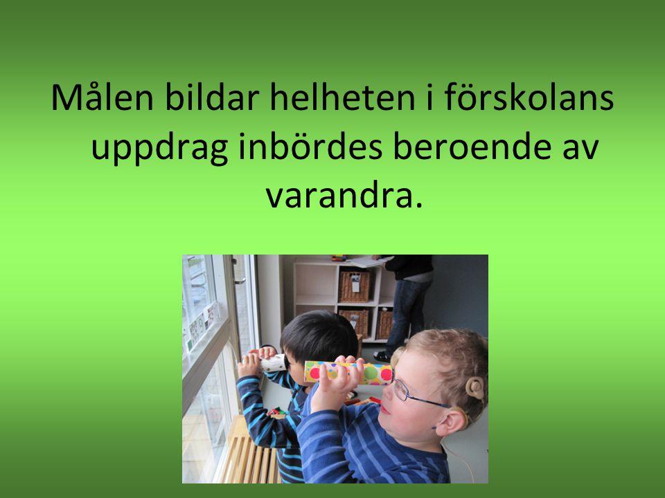 Målen bildar helheten i förskolans uppdrag inbördes beroende av varandra.