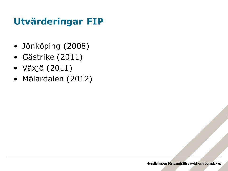 Utvärderingar FIP Jönköping (2008) Gästrike (2011) Växjö (2011)