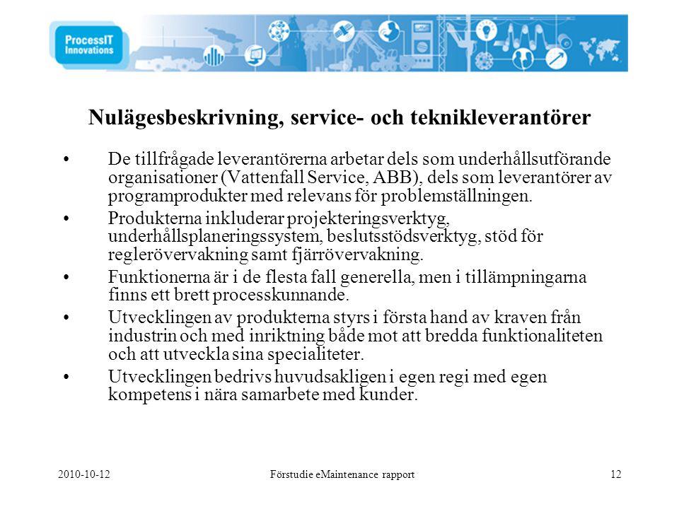 Nulägesbeskrivning, service- och teknikleverantörer